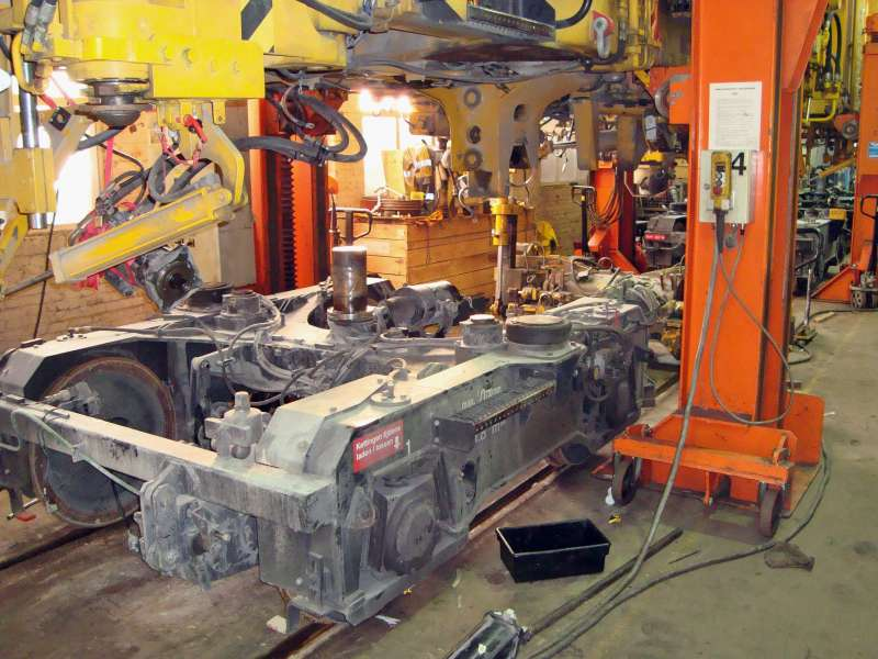 Removal of bogies and pneumatic, hydraulic and electronic parts