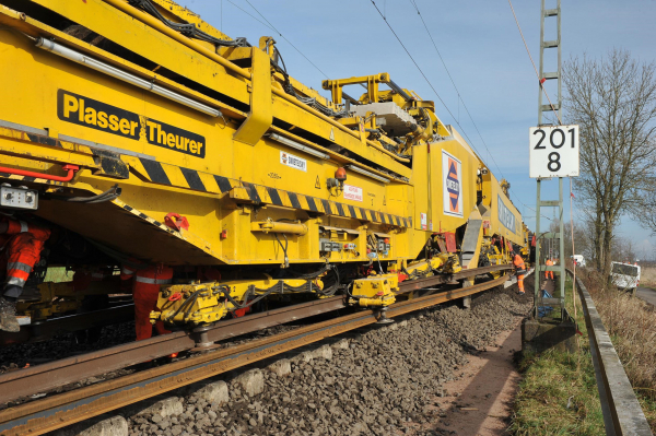 RU 800 S: rail guiding clamps ensure that the long-welded rails are exchanged without damage while the machine moves forward. The new rail is in the foreground.