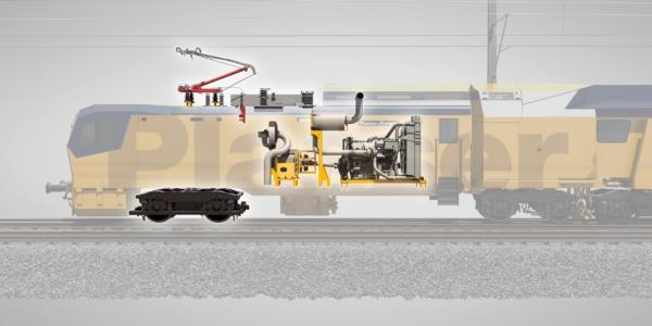 Zwei Betriebsmodi für den Überstell- und Arbeitsbetrieb steuern, wie die Energiequelle mit dem Antriebssystem zusammenwirkt - Elektrischer Fahrmodus und Arbeitsmodus ODER Diesel-elektrisch angetriebener Fahrmodus und Arbeitsmodus.