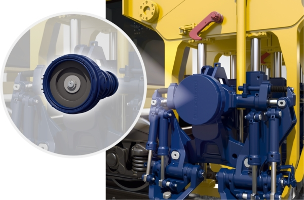 Electric motors power the tamping units of the new Unimat 09-4x4/4S E³. All linear cylinders, such as the squeeze cylinders of the tamping unit or the cylinders of the lifting and lining unit continue to work hydraulically.