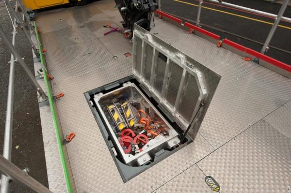 In einer Box unter der Ladefläche erfolgt die zentrale Unterbringung von Kleinteilen und Anschlagmitteln, gut geschützt und direkt von oben zugänglich. © DB Netz AG