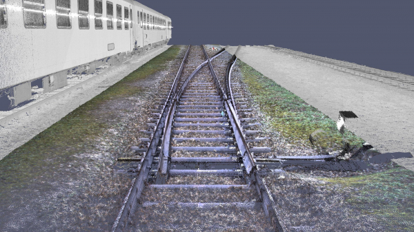 Point clouds with colour information from 3D data collection using mobile mapping (examples from the test runs).