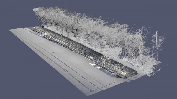 Le nuage de points avec des informations en couleur tirés de l'enregistrement 3D des données au moyen du mobile mapping (exemples d'images tirés des séances de tests)