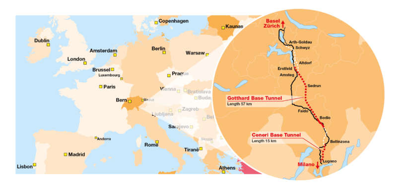The new north-south axis through the Length 15 km Alps will accelerate passenger and freight traffic between Germany and Italy to up to 250 km/h as of late 2020.