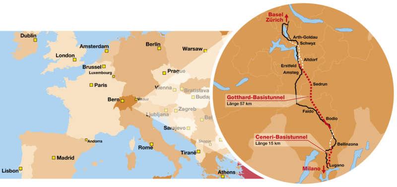 Die neue Nord-Süd-Achse durch die Alpen beschleunigt den Verkehr für Pendler und Güter Ende 2020 zwischen Deutschland und Italien auf bis zu 250 km/h.  Gotthard-Basistunnel: Länge 57 km;  Ceneri-Basistunnel: Länge 15 km