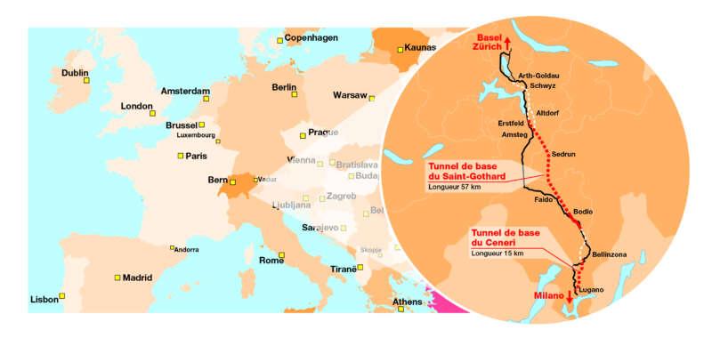 Le nouvel axe Nord-Sud traversant les Alpes accélèrera le transport pour les travailleurs et les marchandises fin 2020 entre l'Allemagne et l'Italie pour atteindre une vitesse allant jusqu'à 250 km/h.