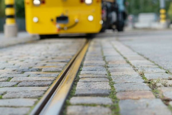 Cleaning tramway rails of leaf litter and the oily film it produces benefits safety by reducing braking distance