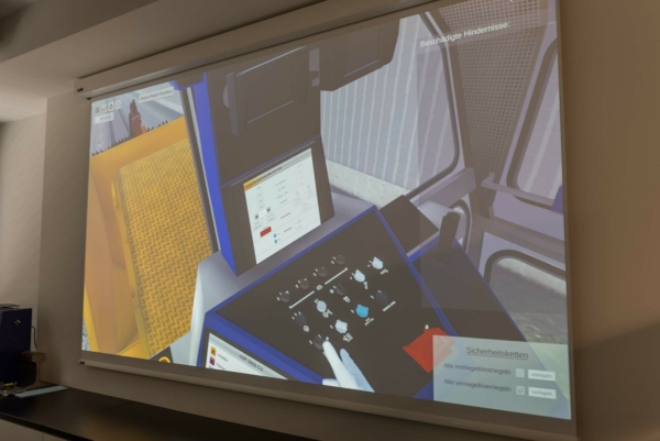 These work technologies, along with machine commissioning and transfer travel, can be practised with the VR ballast regulating simulator