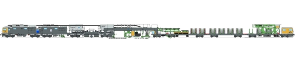 The SES 170 sleeper exchange system is 94 m long. It consists of three main components: a transport wagon (right), the main machine in the centre, and a power wagon (left).