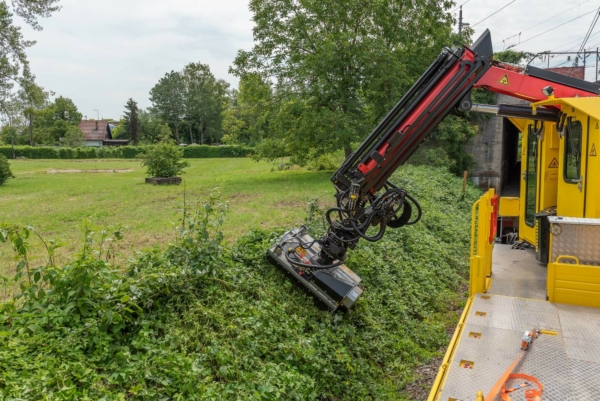 The forestry mulcher cuts away greenery near the clearance gauge